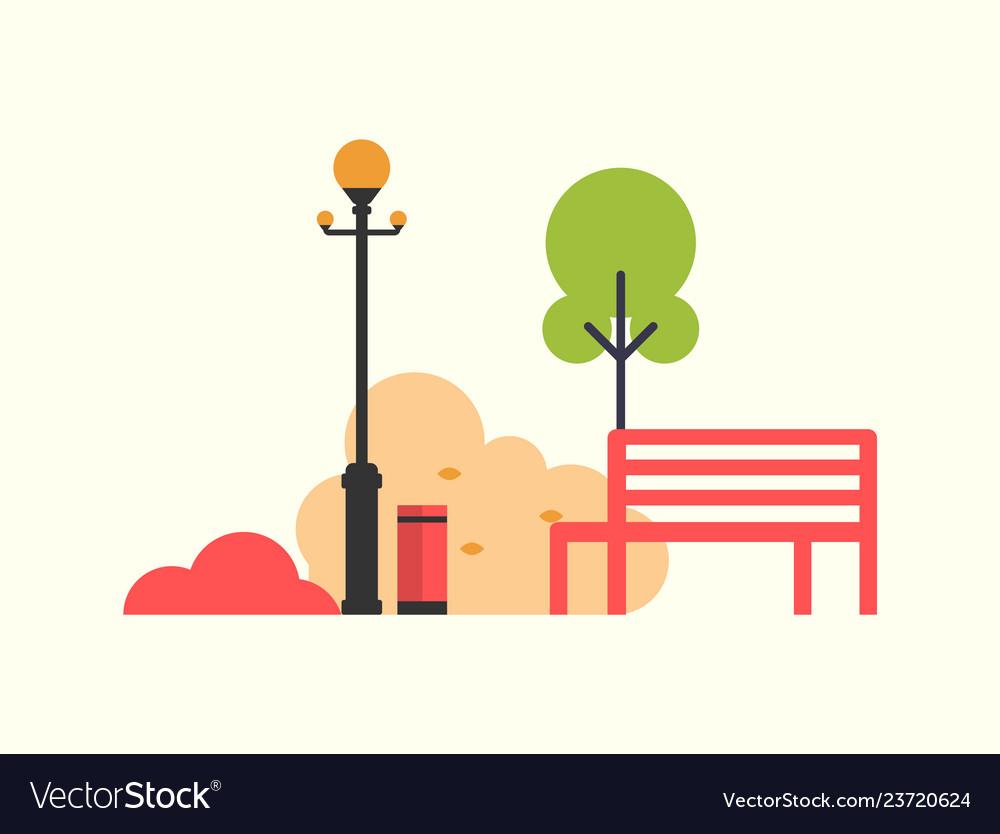 Autumn season icons bench and tree street lamp