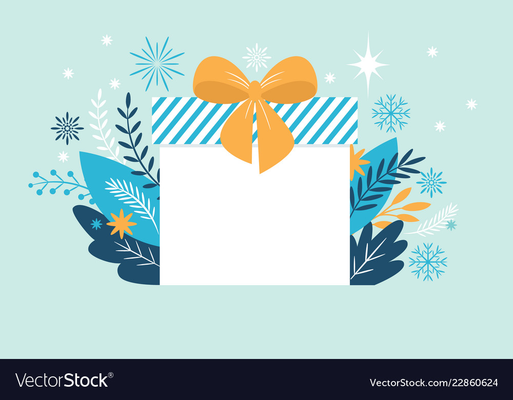 Bif gift box christmas banner new year greeting