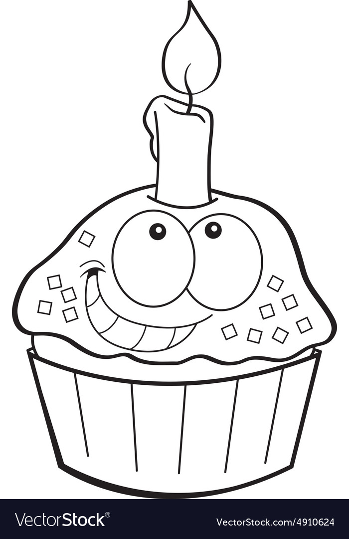 Cartoon cupcake with a candle vector image