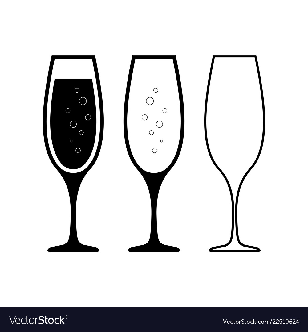 Champagne glasses icons champagne glasses set