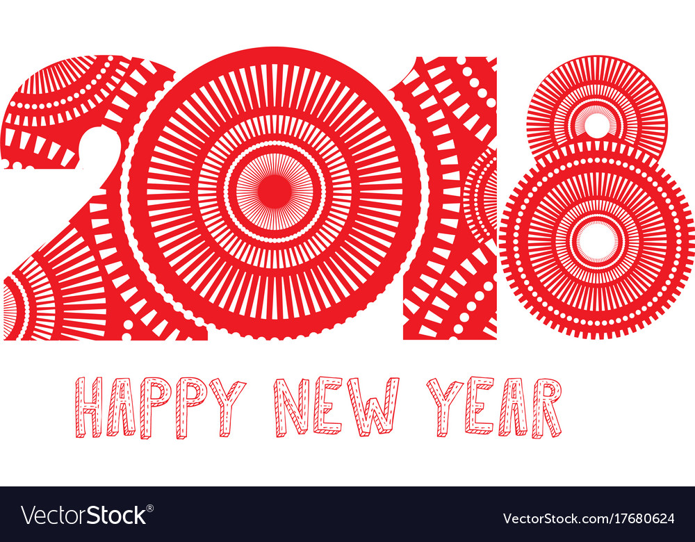 fireworks happy new year 2018 theme vector image