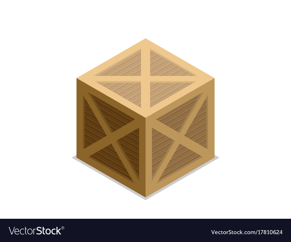 Flat isometric wood box vector image