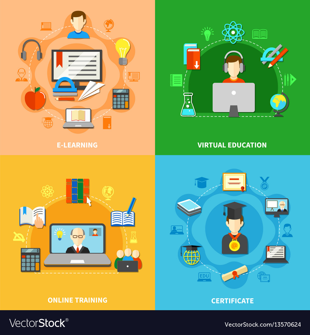 Four E Learning Icon Set Royalty Free Vector Image