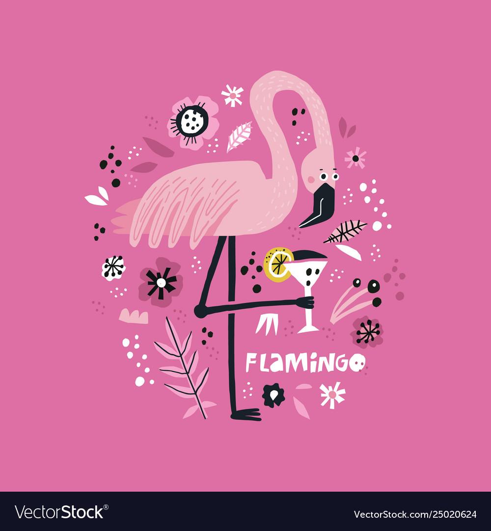 Pink flamingo hand drawn poster