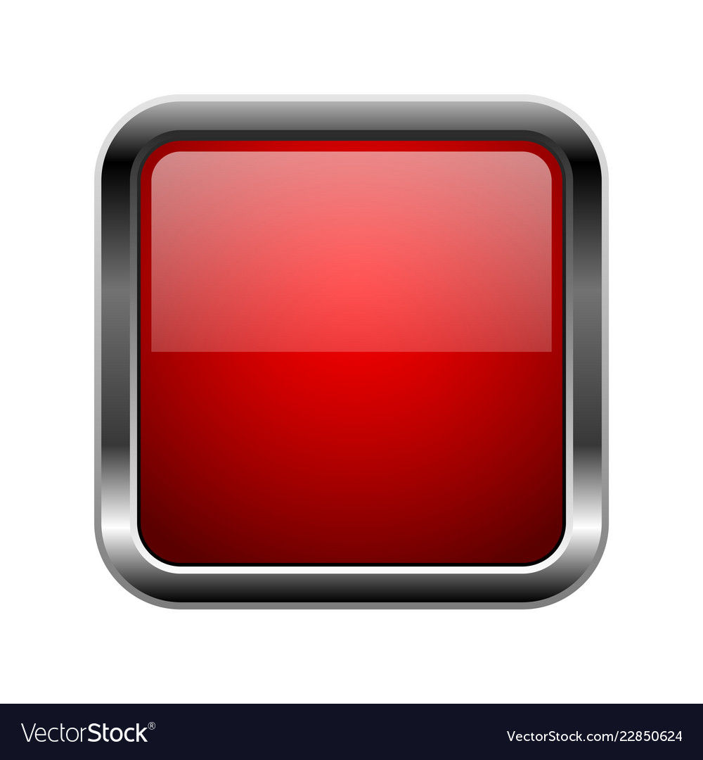 c2f94ce20ed Red glass button square 3d shiny icon with metal Vector Image