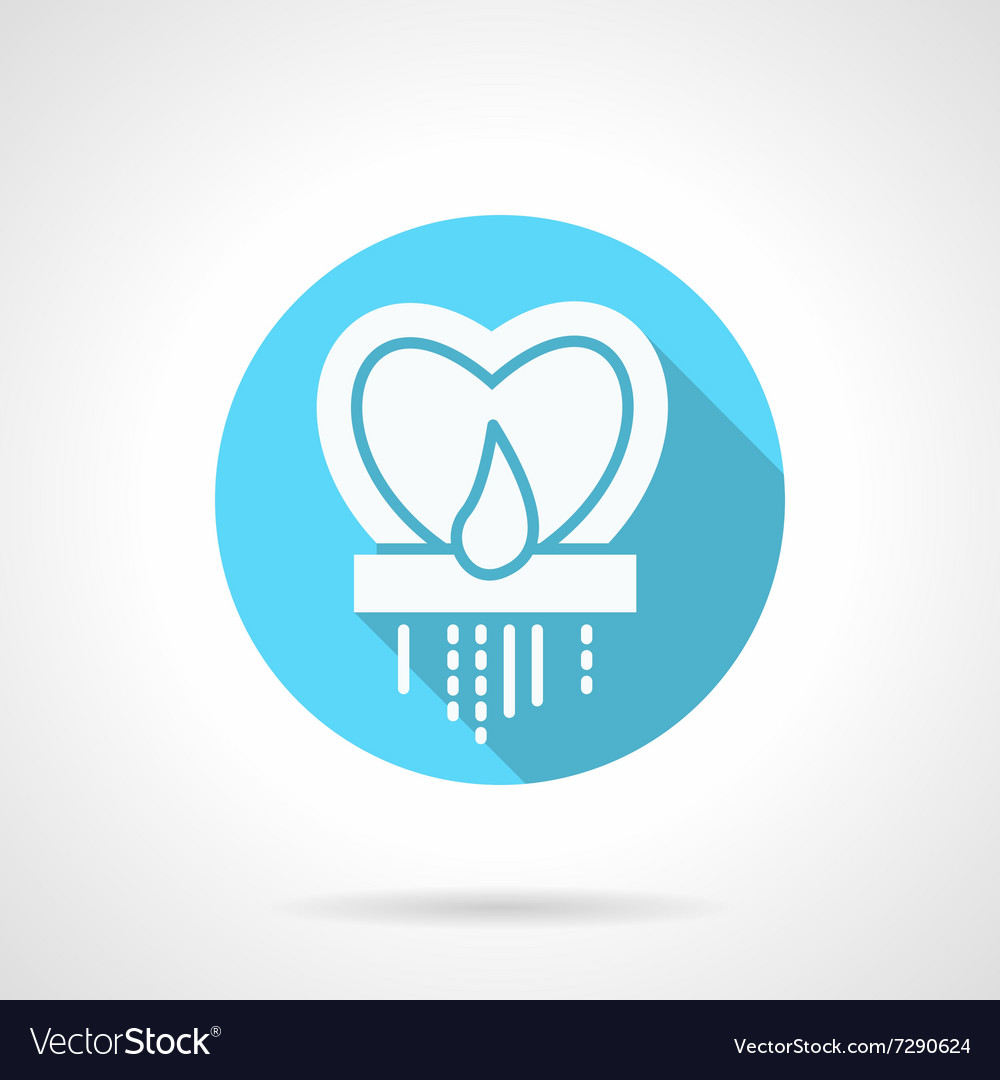 Round blue heart candlestick flat icon