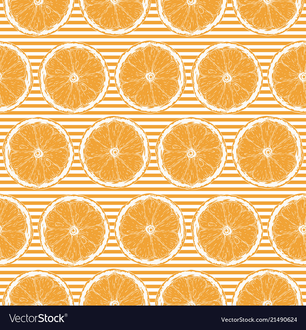 Seamless pattern with orange slices