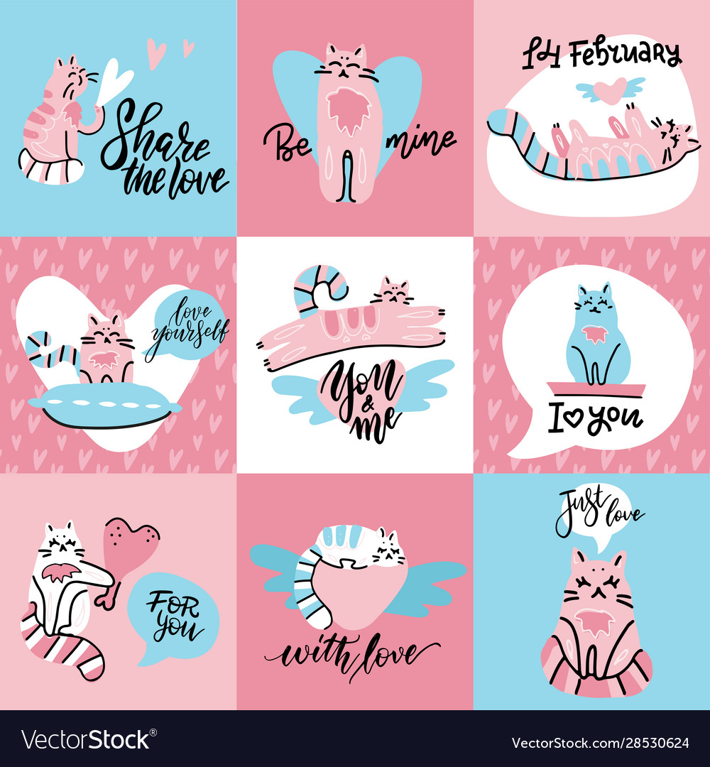 Set cute creative cards with funny cats in love