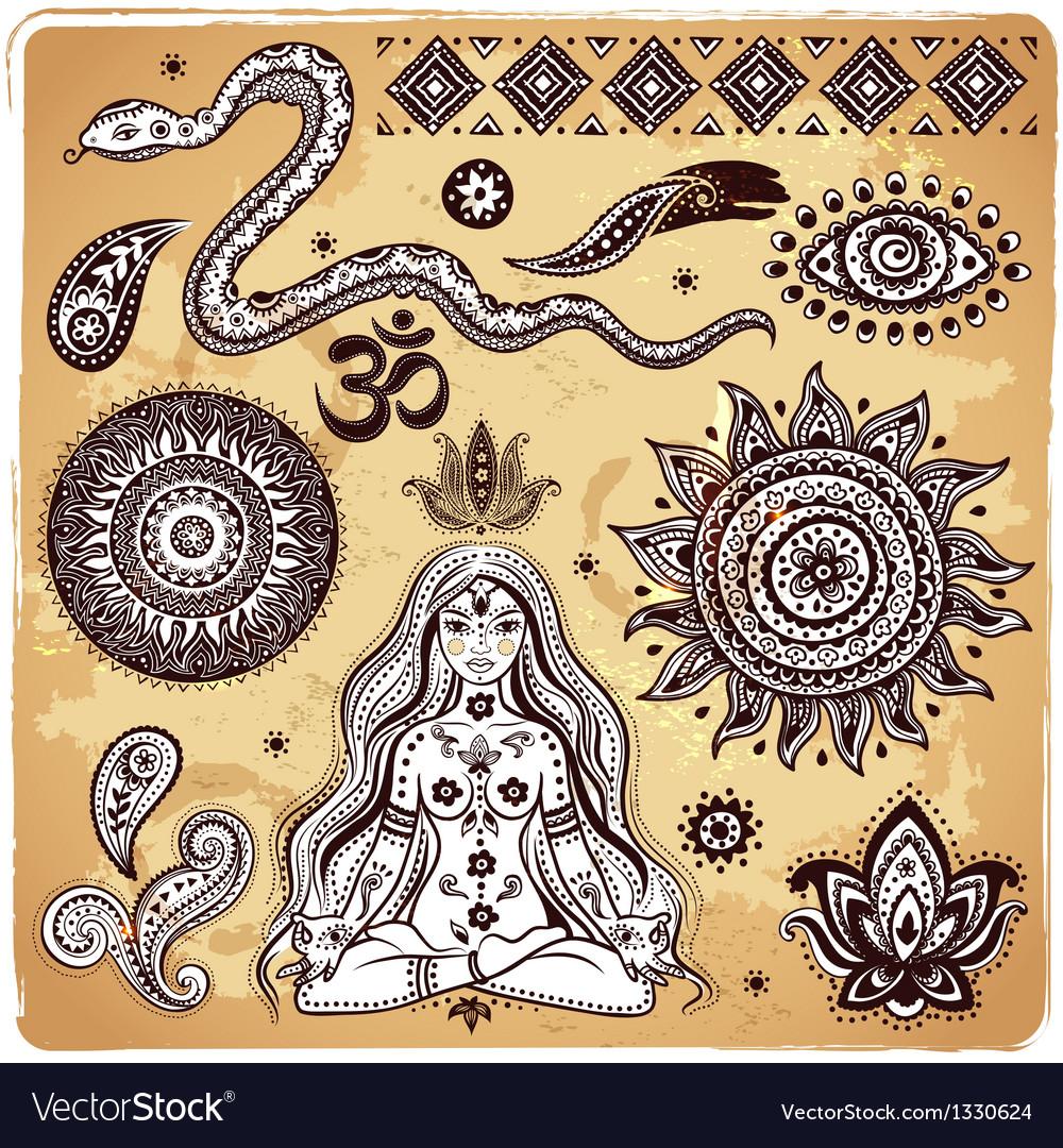 Set ornamental indian elements and symbols