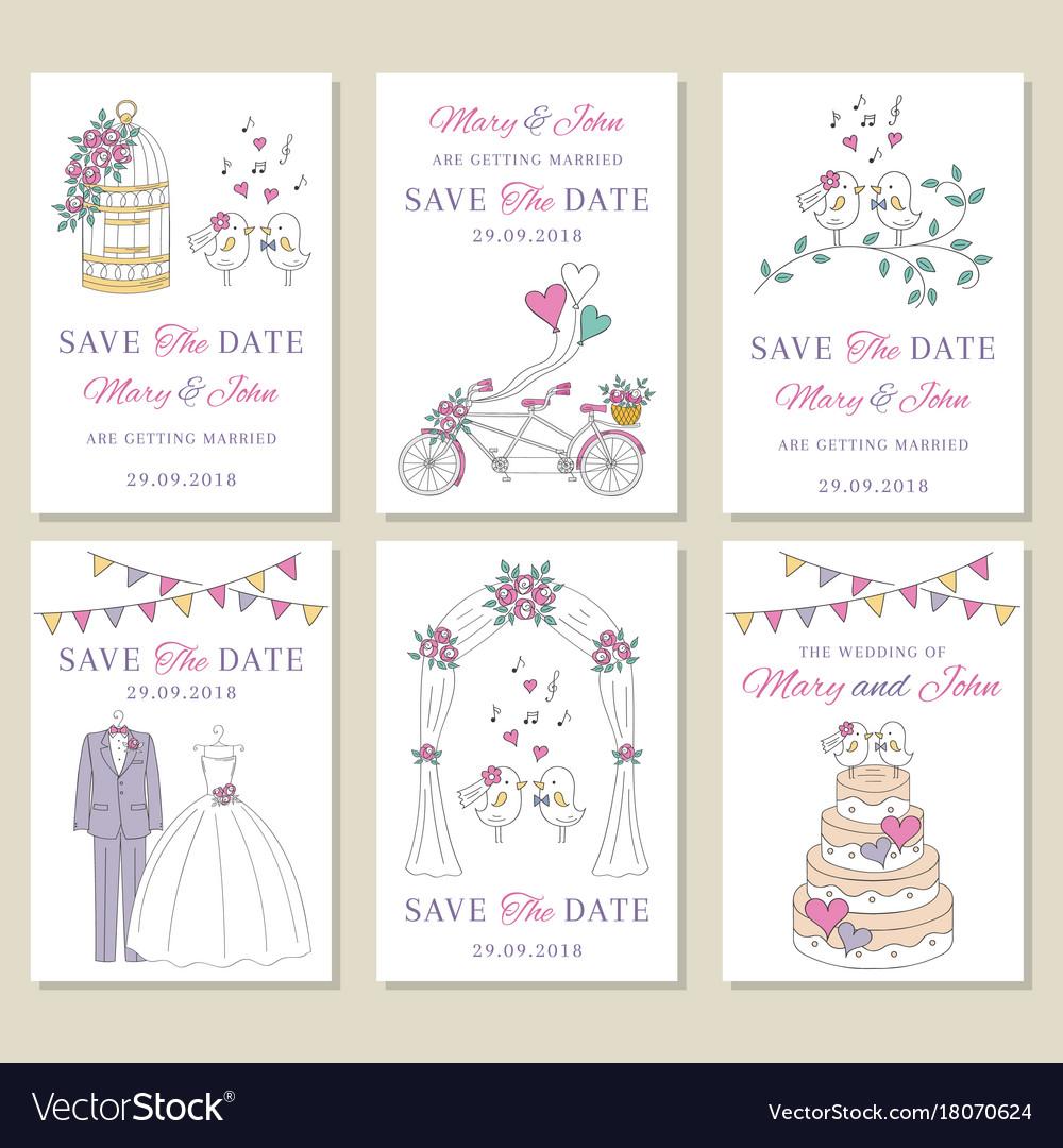 Set wedding cards
