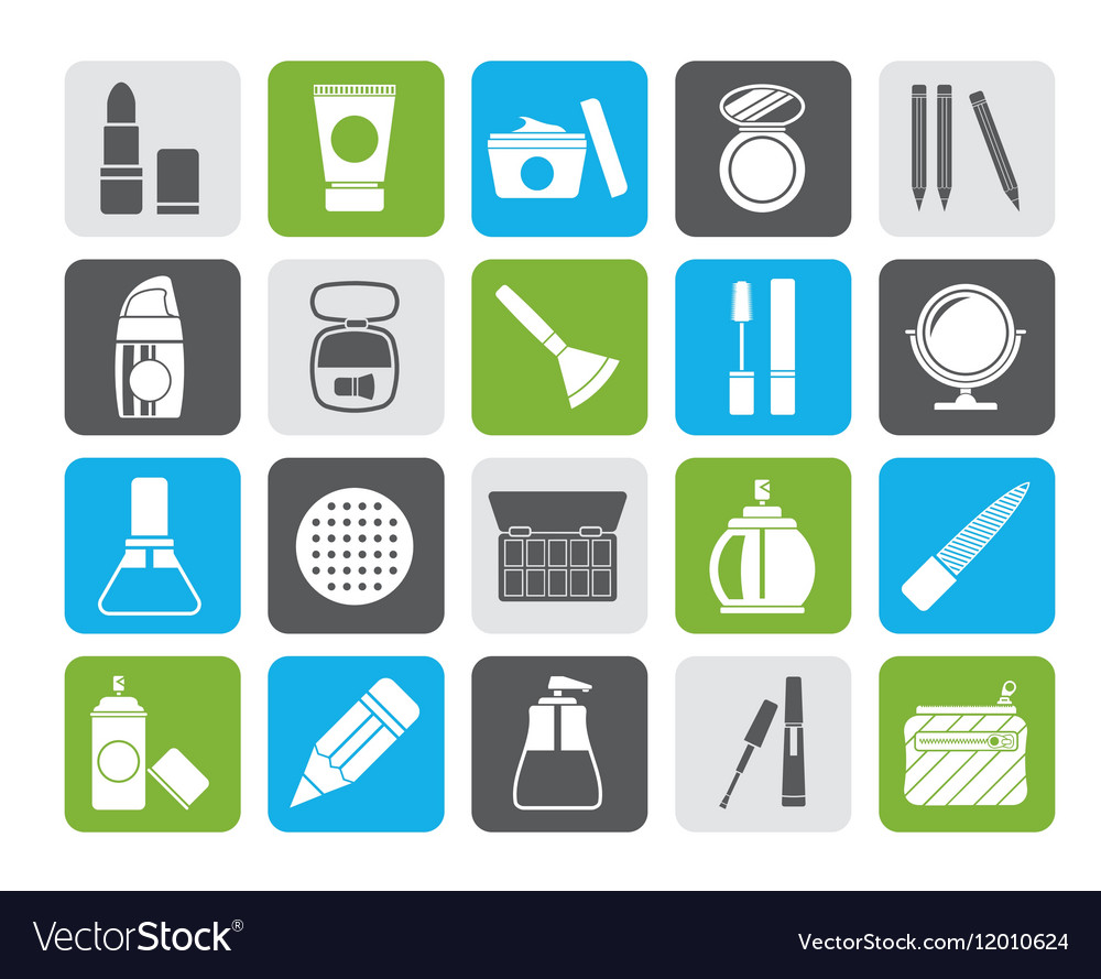 Silhouette Make-up and cosmetics icons vector image