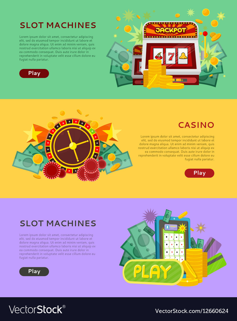Slot Machines Casino Banners Online Play Concept