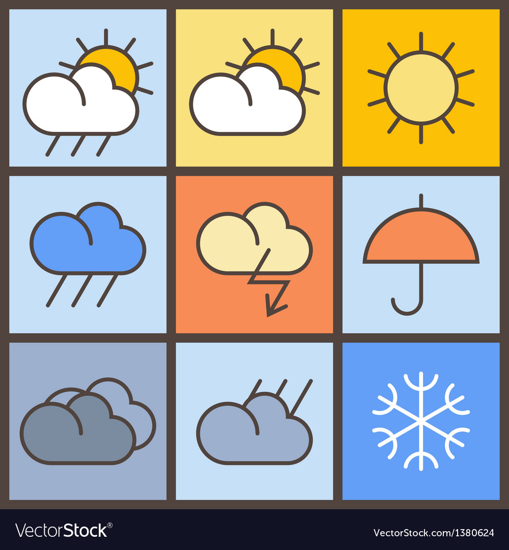 Weather Symbols Royalty Free Vector Image Vectorstock