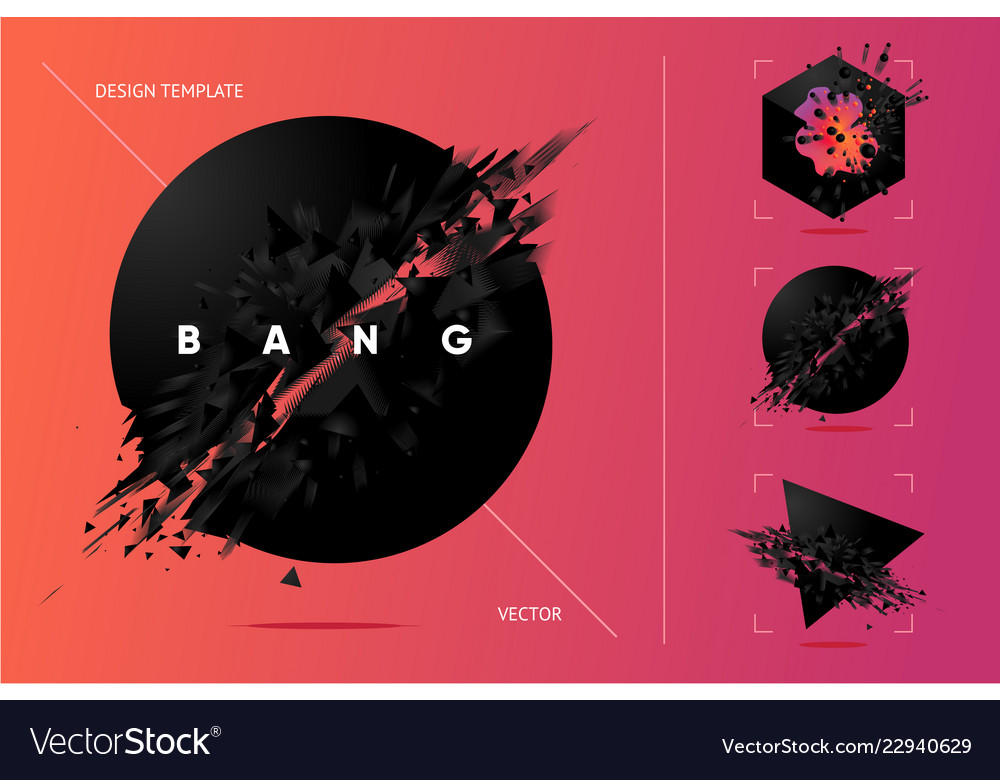 Abstract explosion shapes set with black particles