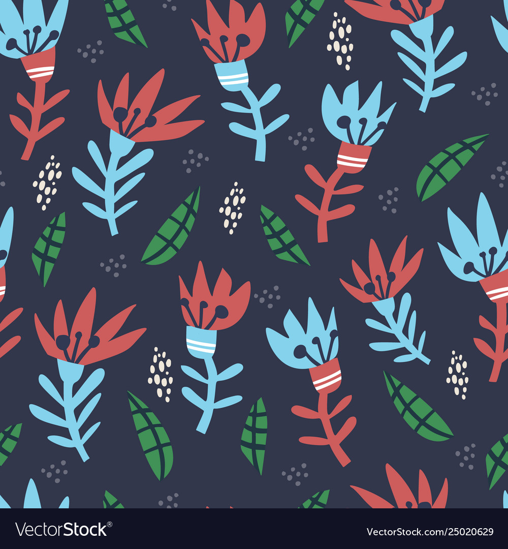 Abstract floral hand drawn seamless pattern