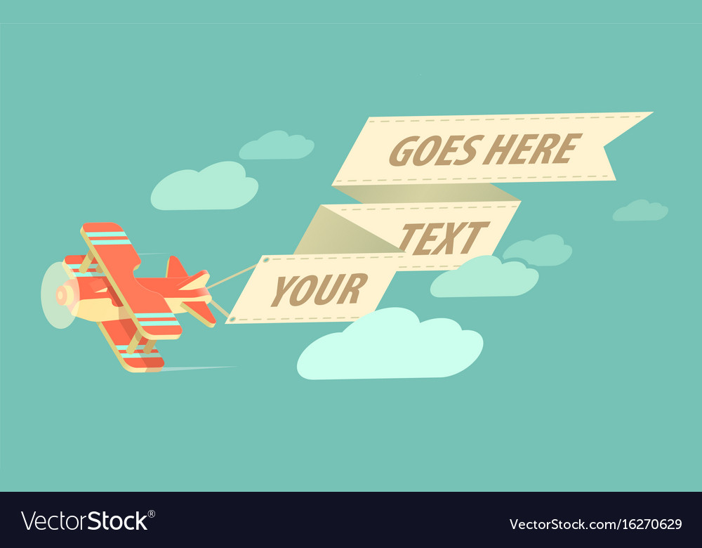 Biplane with ribbon vector image