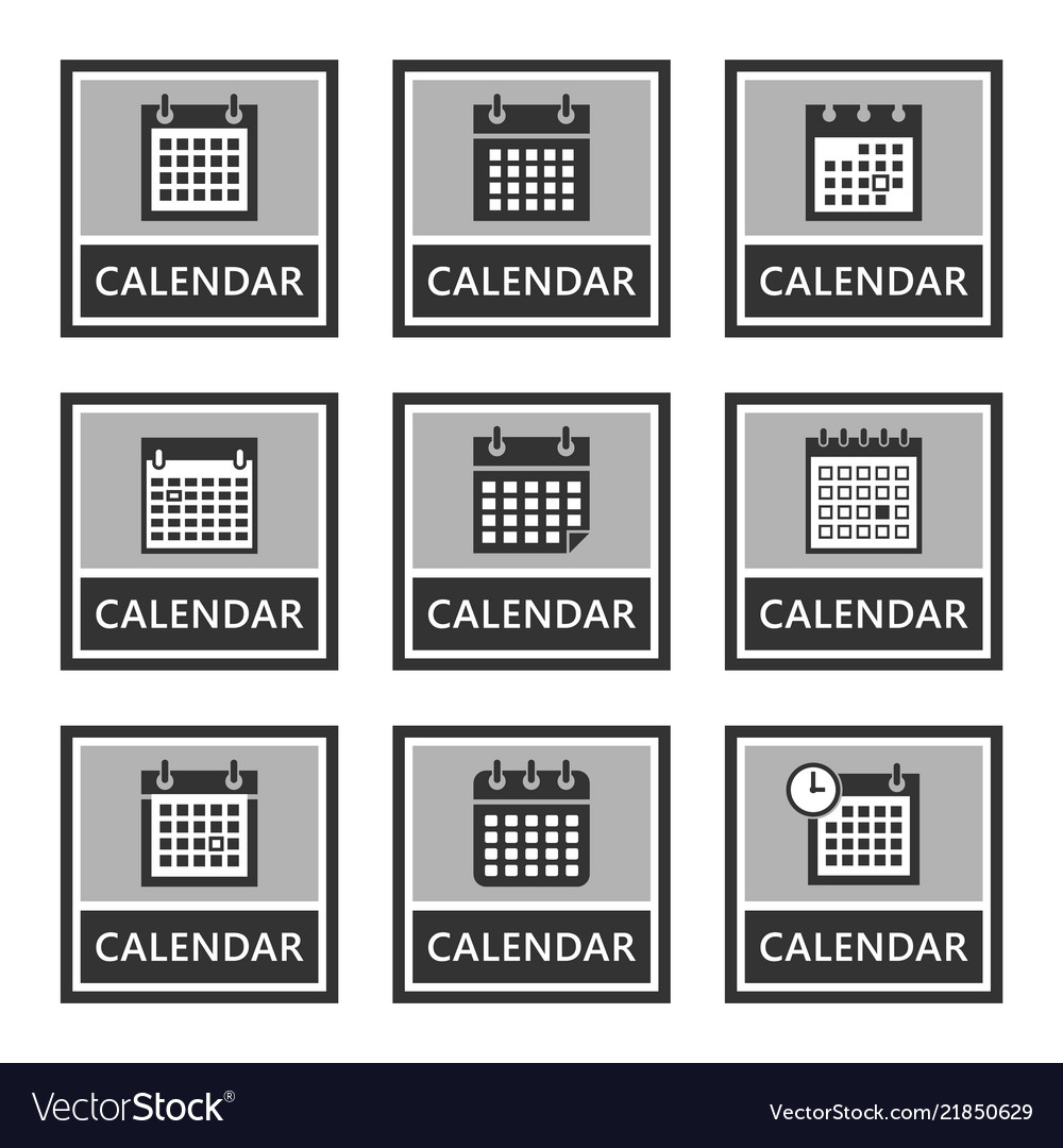 Calendar icons and signs set in