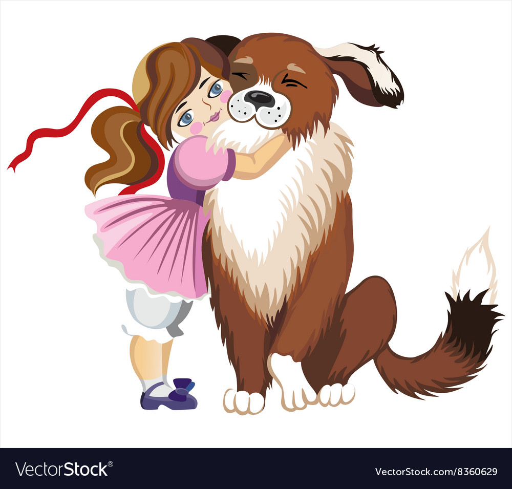 Cute Toddler Hugging a Dog