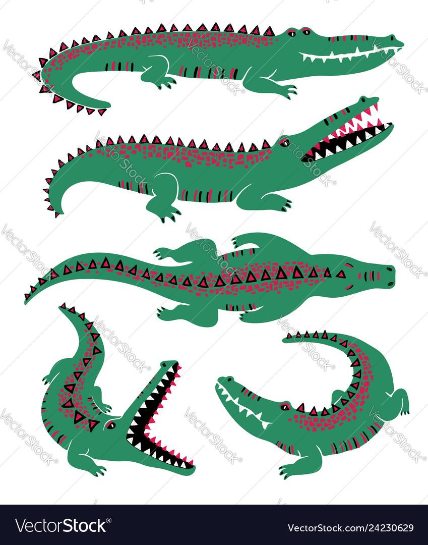 Funny set of crocodile icons