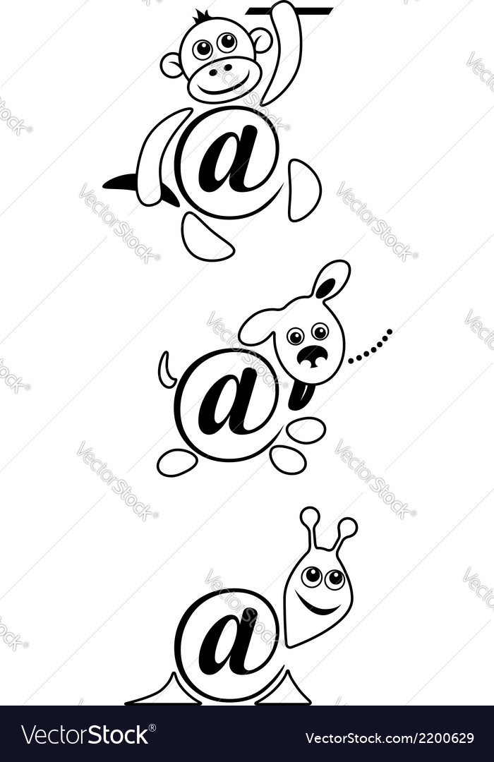 International sign email animals contour vector image