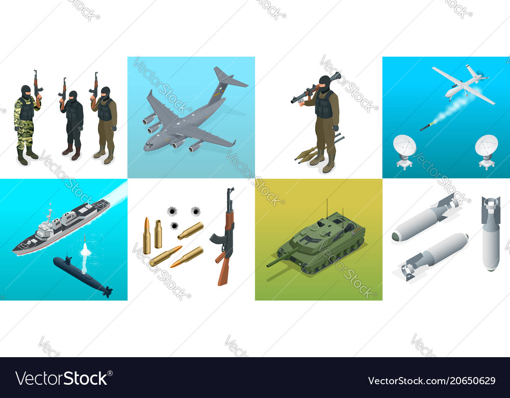 Isometric icons submarine aircraft soldiers set vector image