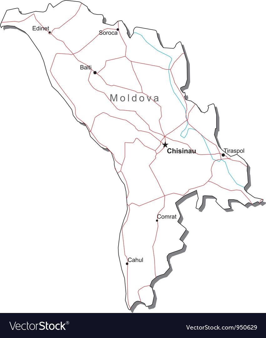Moldova Black White Map