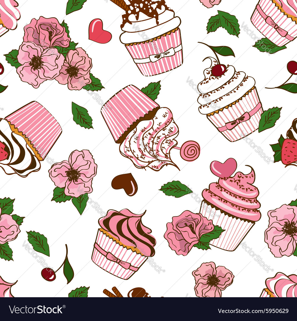 Seamless pattern of cupcakes and flowers vector image
