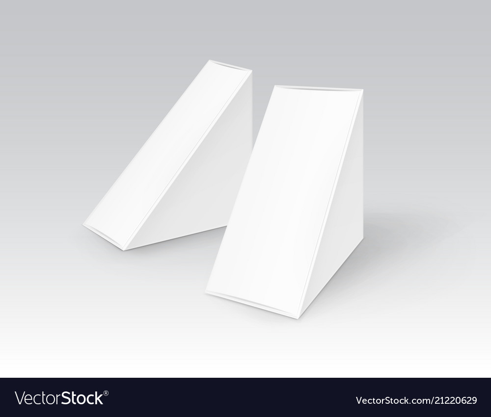 Set of white blank cardboard triangle take