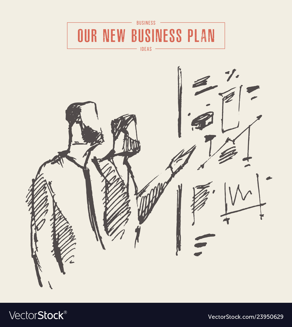 Sketch process business planning hand drawn