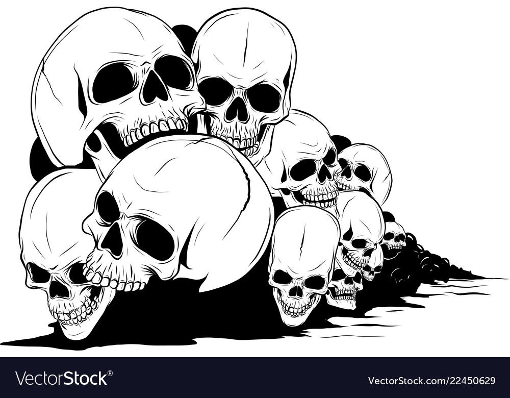 Skull And Crossbones Human Skulls And Bones With Vector Image