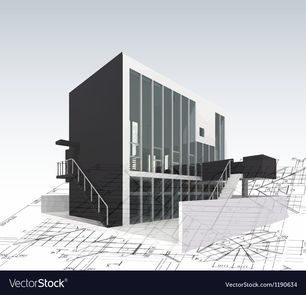 Architecture model house with plan and blueprints