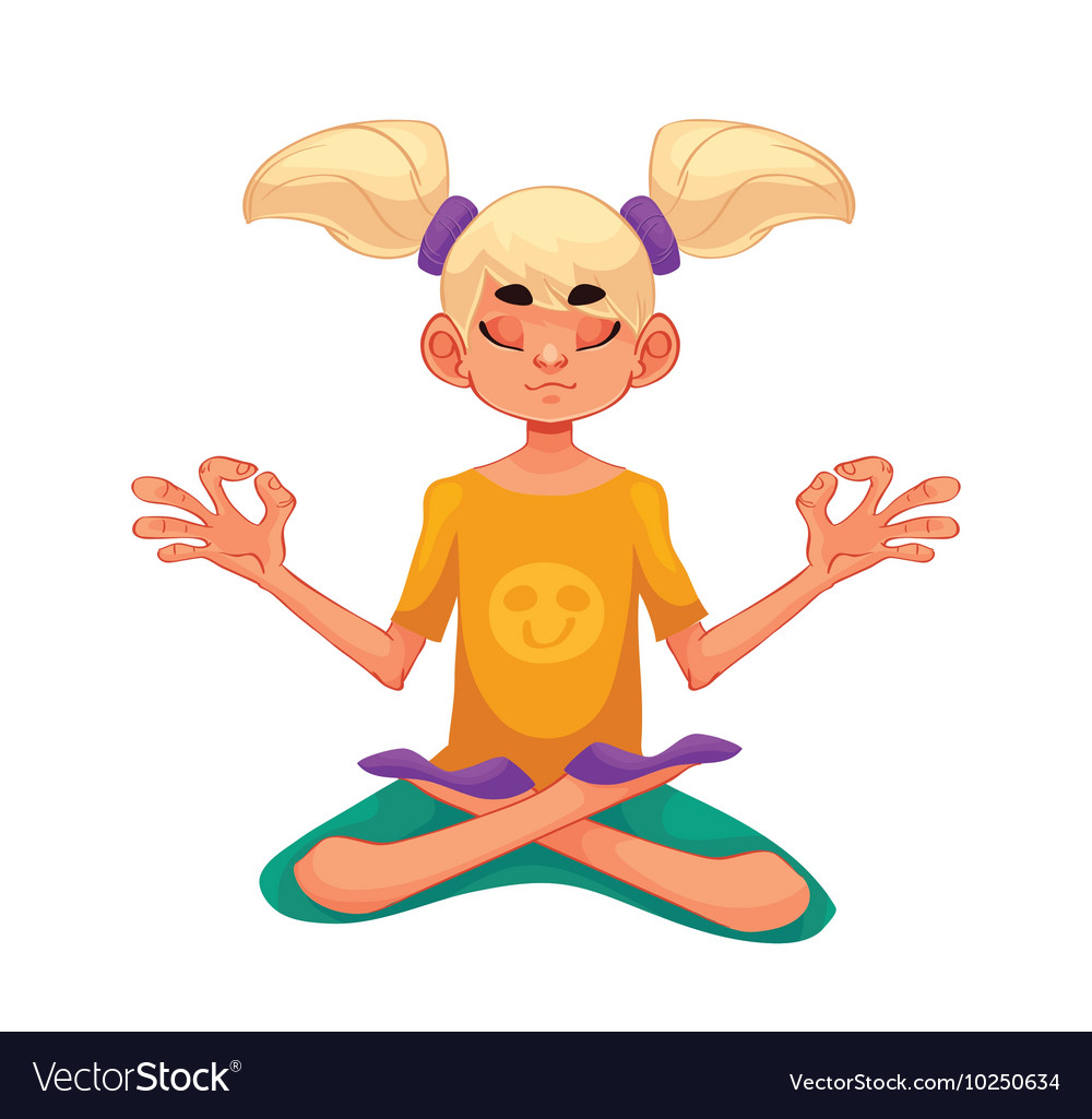 Blond haired girl doing yoga
