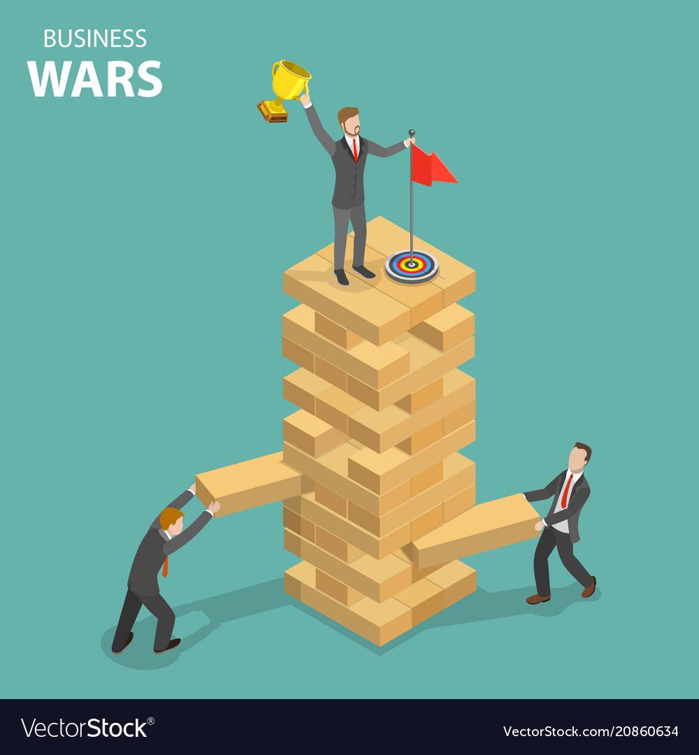 Business war flat isometric concept