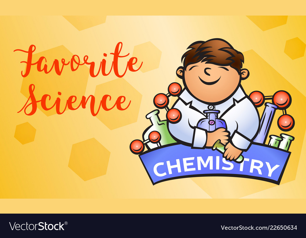Chemistry science concept banner cartoon style