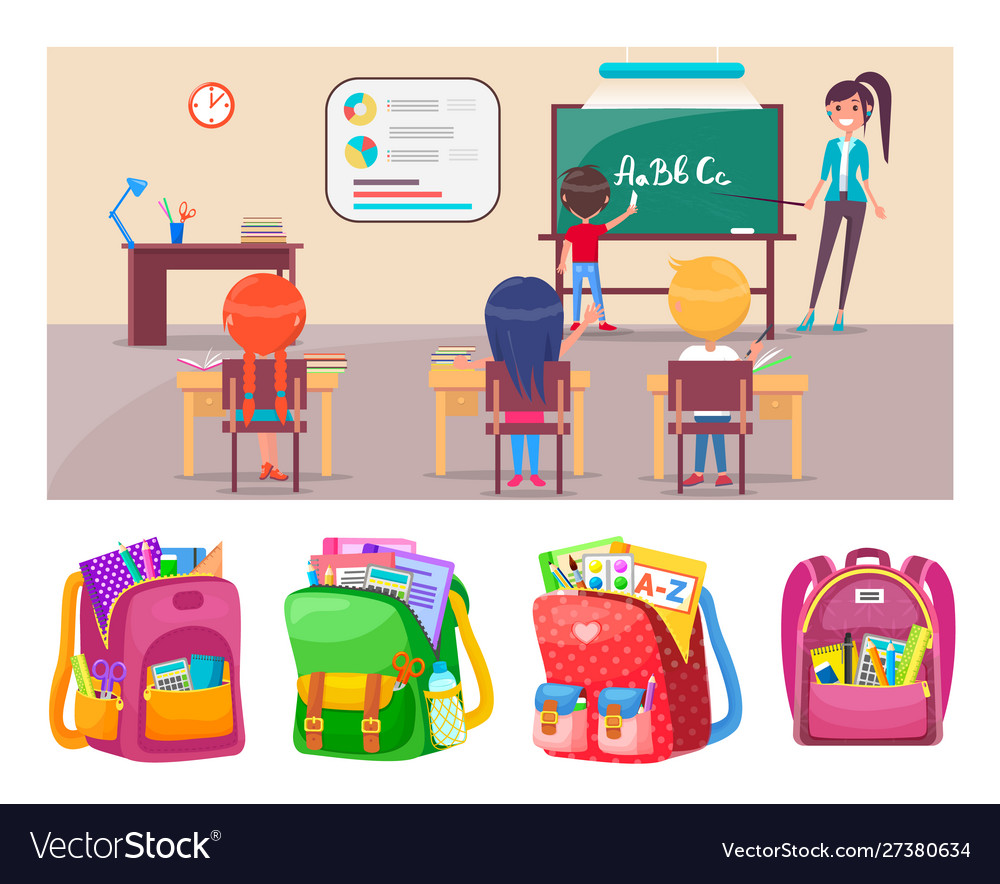 Children learning letters at school lesson with