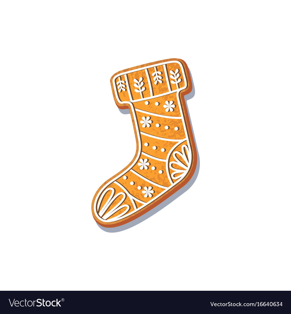 Gingerbread christmas stocking cookie vector image