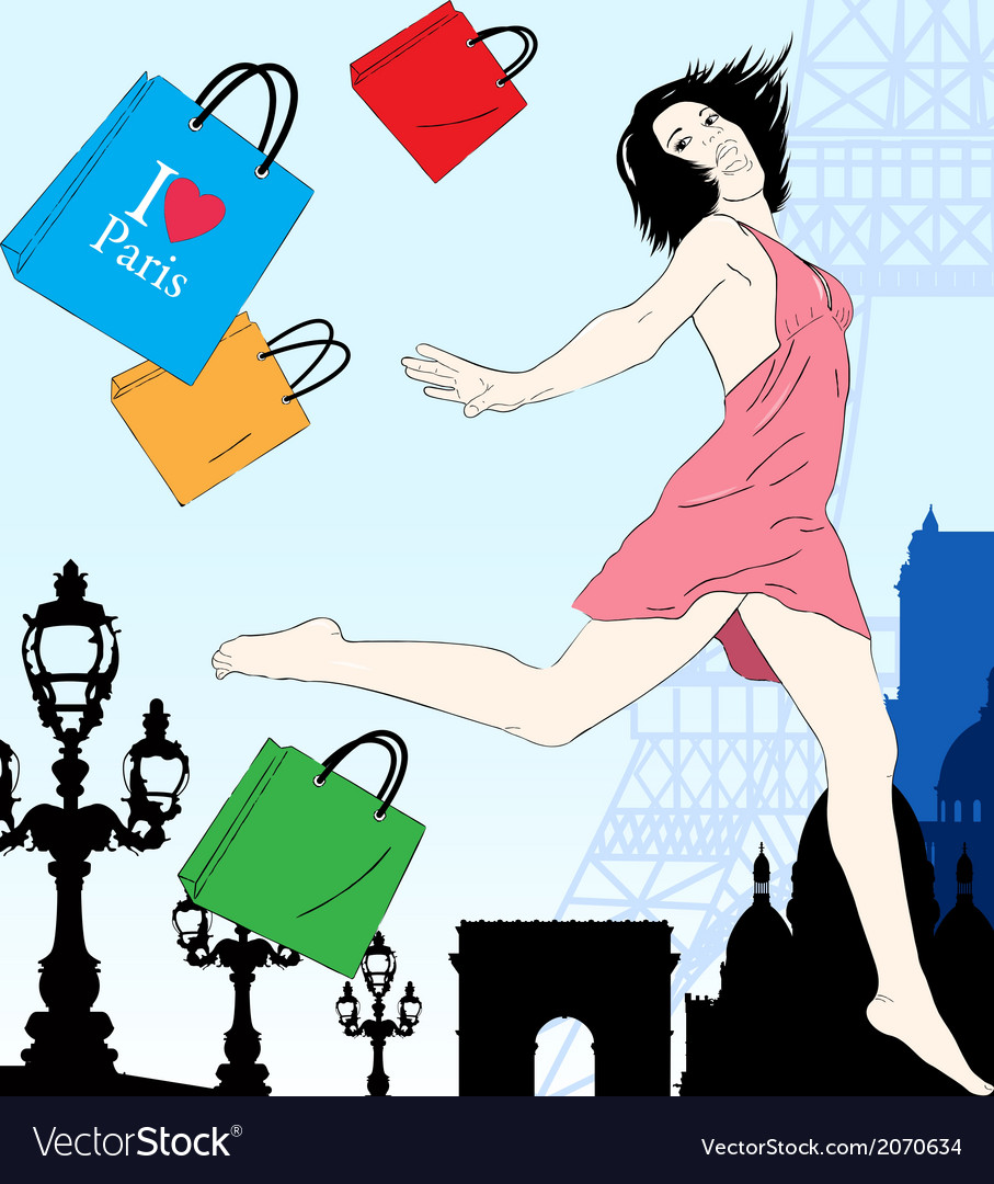 Happy shopping in Paris vector image