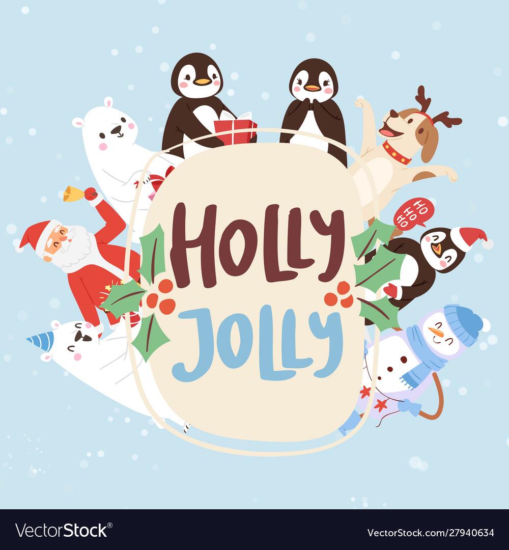 Holly jolly cartoon animals and christmas