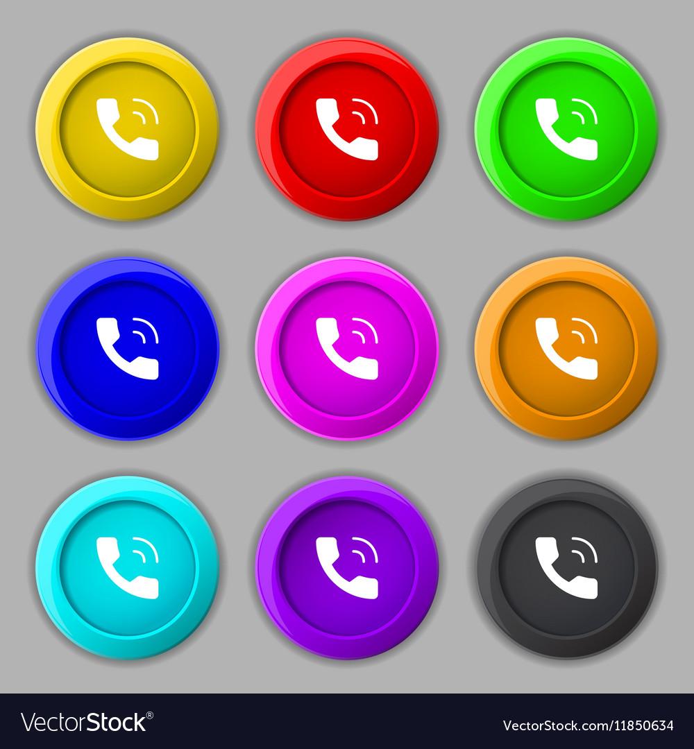 Phone icon sign symbol on nine round colourful