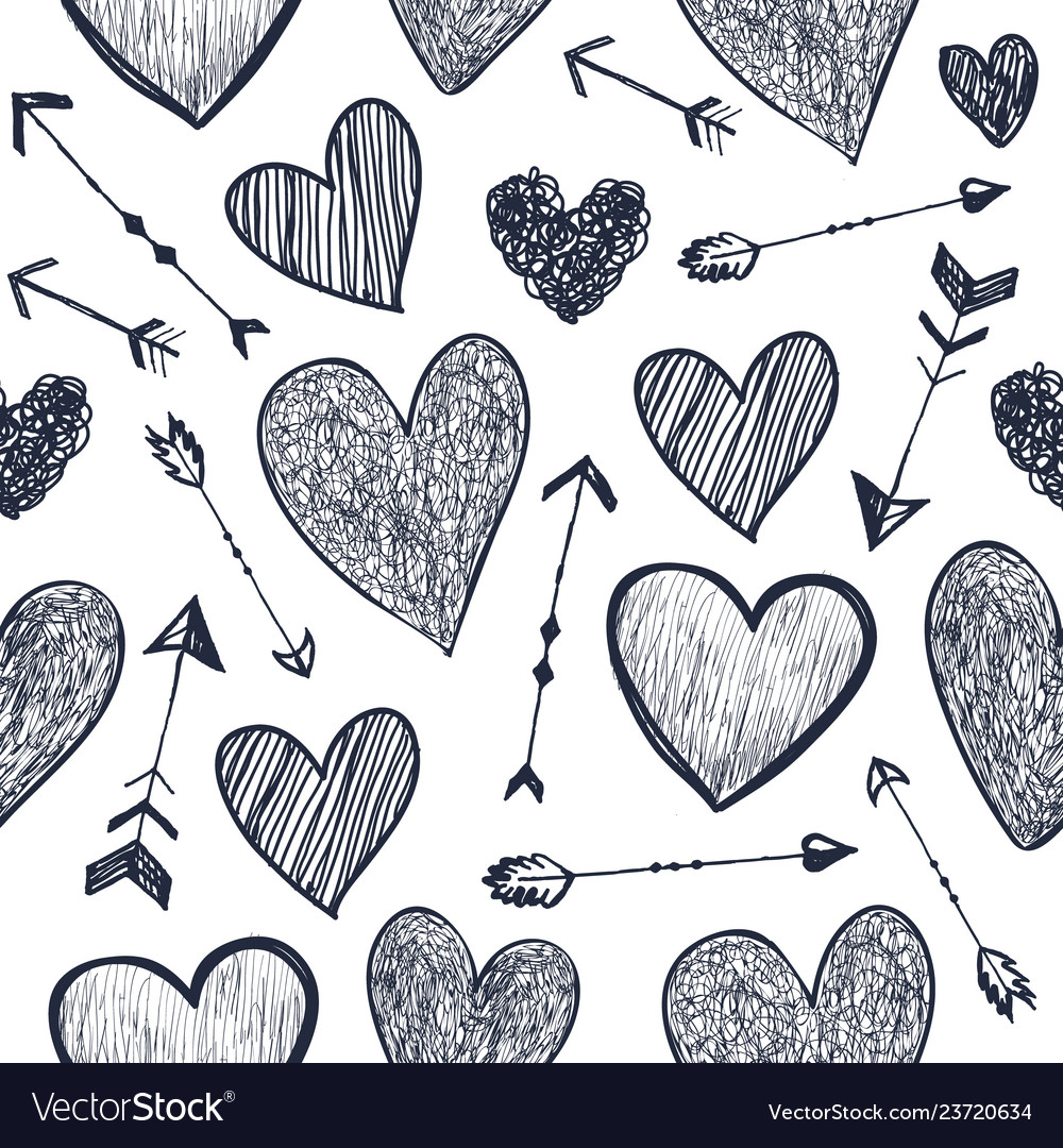 Seamless romantic pattern hearts and