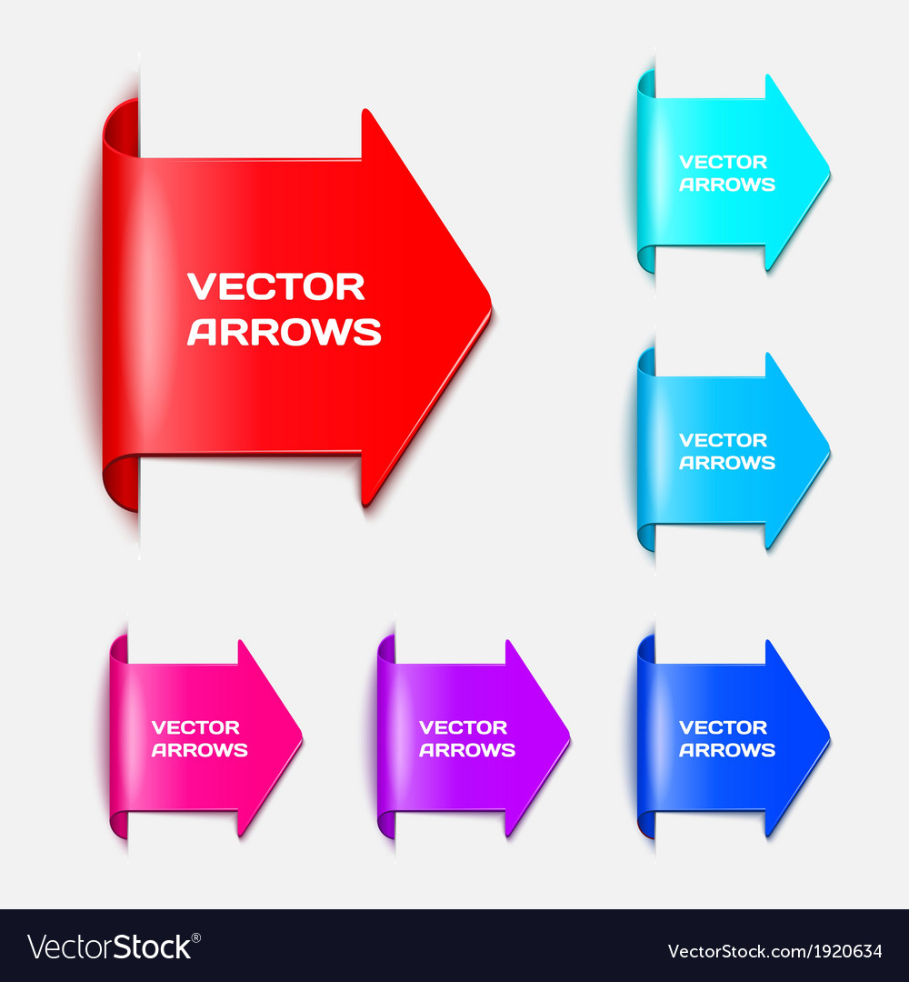 Set arrows in the form of paper stickers vector image