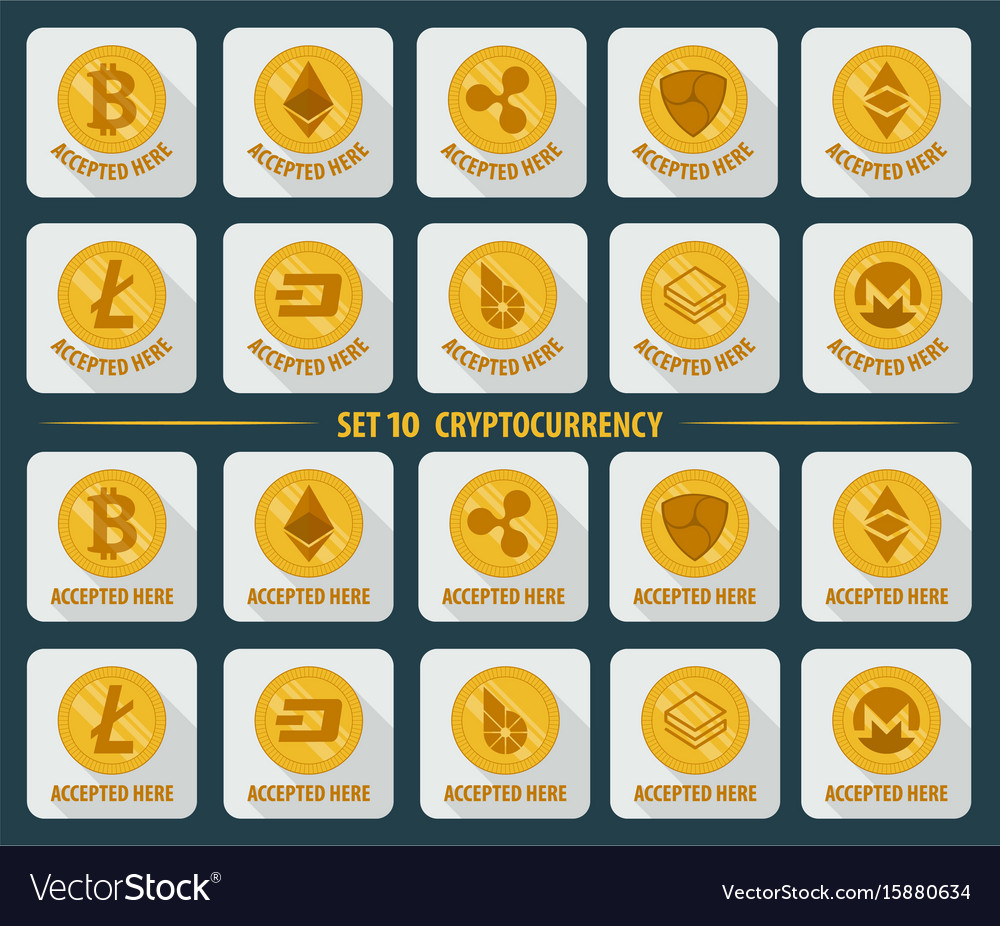 Set of 10 flat currency cryptocurrency on a white vector image