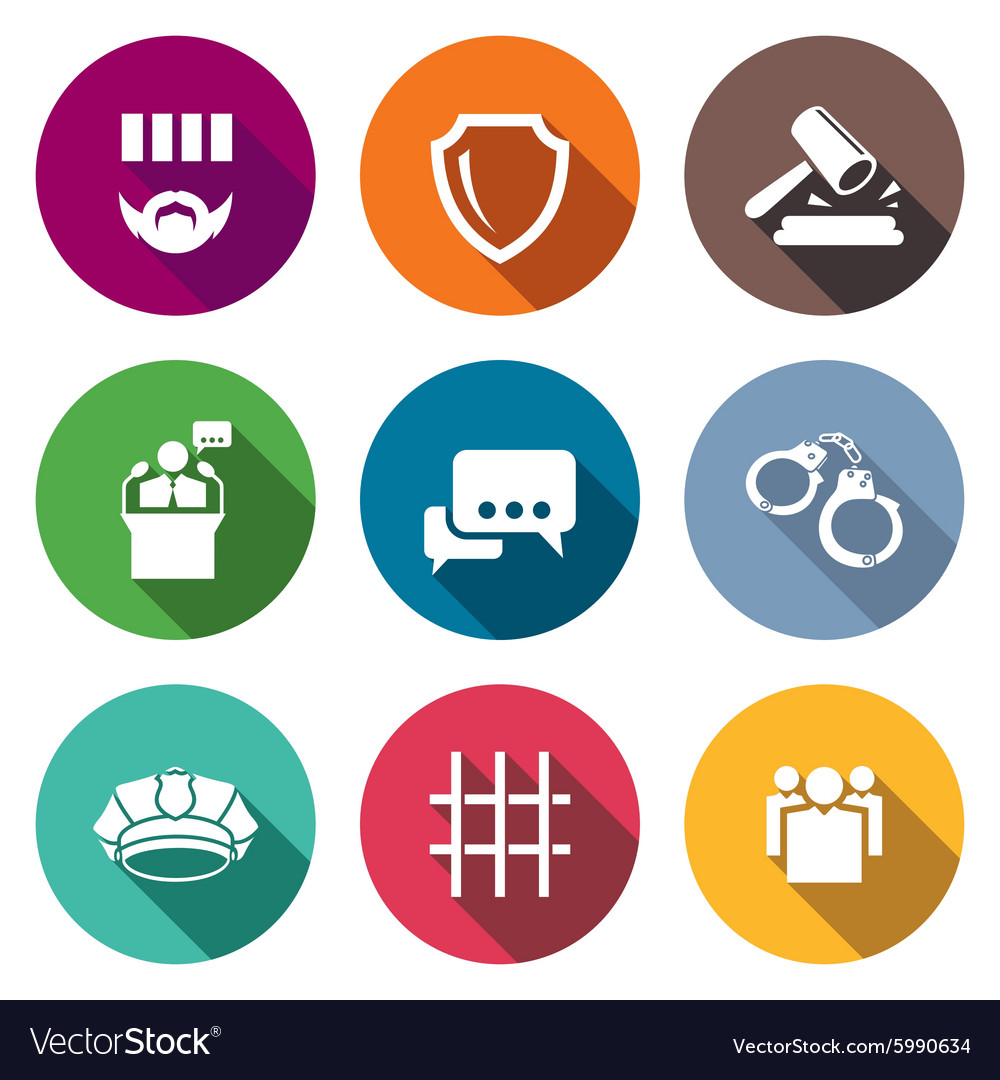 the verdict of the court and detention icons set vector image