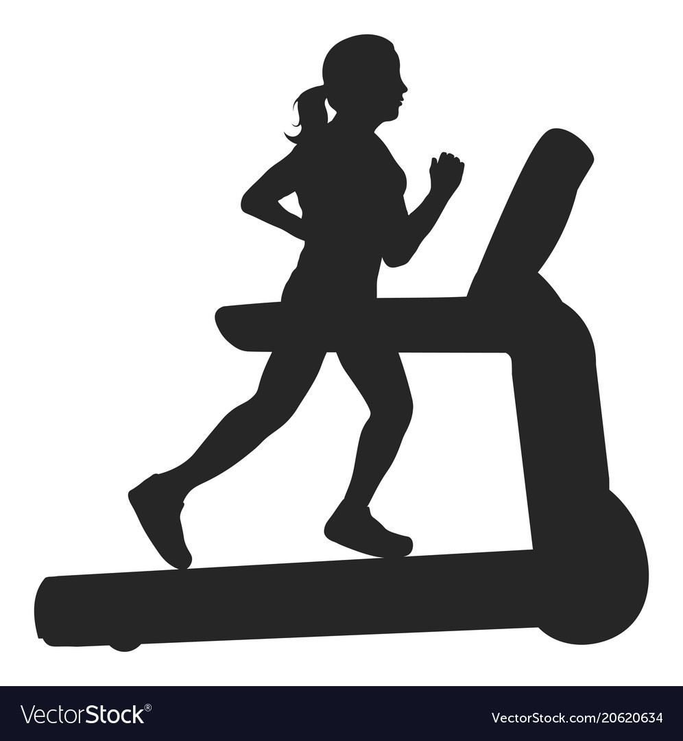 Woman running on a treadmill silhouette