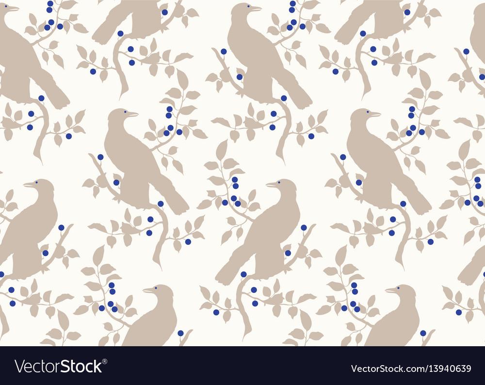Bird on branch seamless pattern