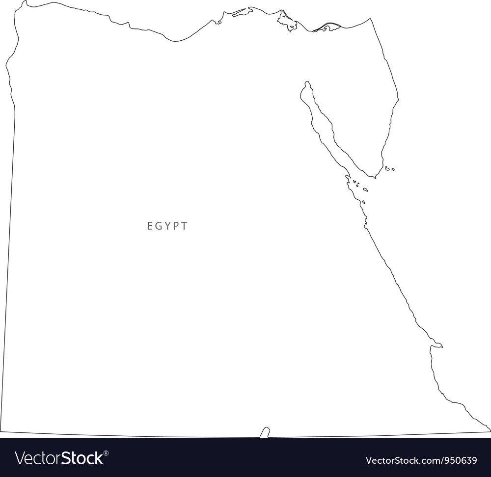 Black White Egypt Outline Map vector image