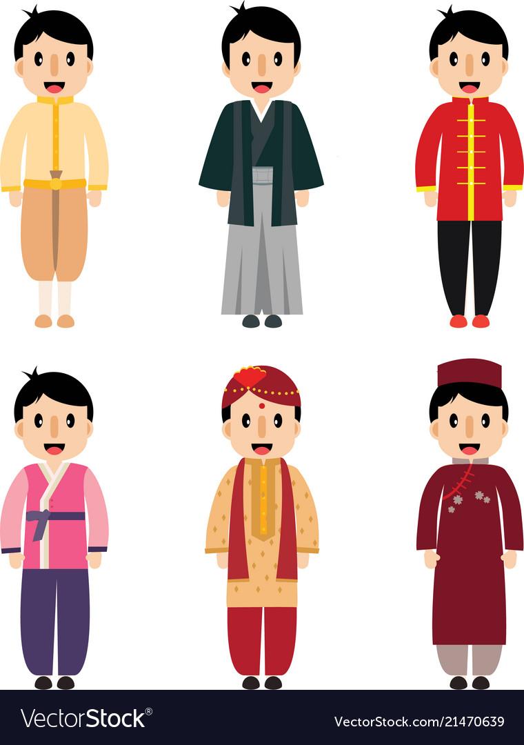 Cute cartoon asian boy dress difference