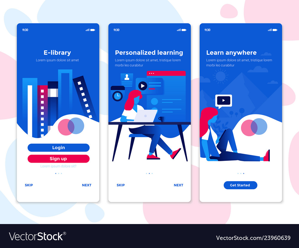 Flat Design Oneboarding Concepts Education App Vector Image
