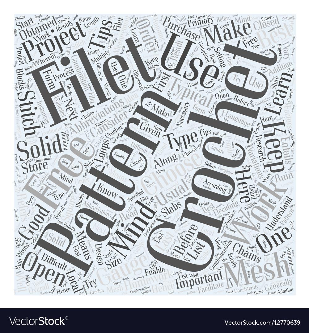 Free Filet Crochet Pattern Word Cloud Concept Vector Image