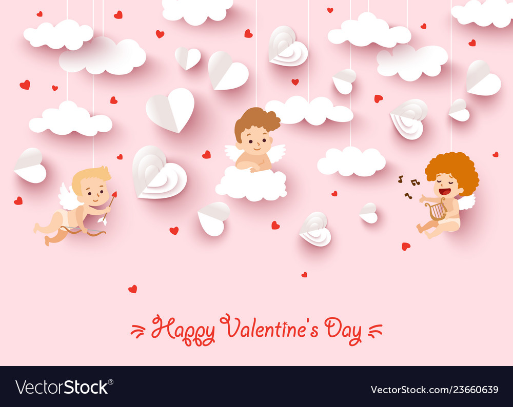 Happy valentines day greeting card with cut paper